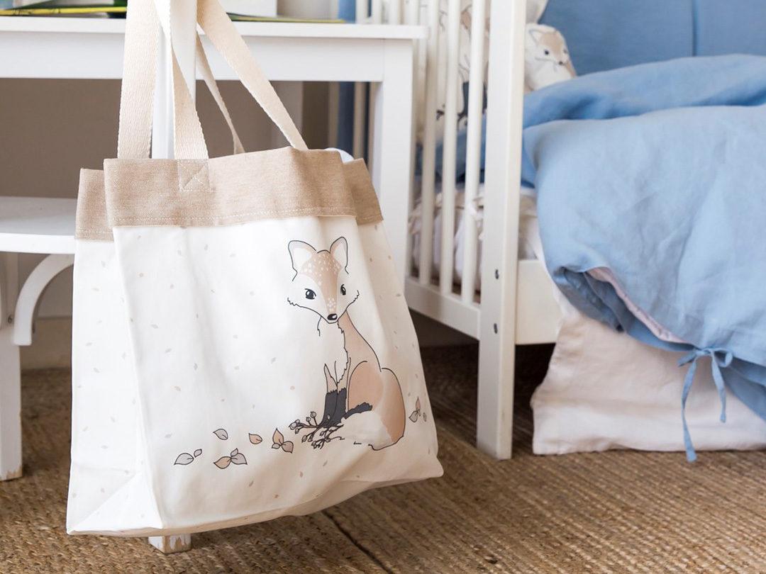 Bolso grande del zorro perfecto para la playa, para la piscina, como bolso de carrito de bebé. Un regalo perfecto y original para mamas o baby shower.
