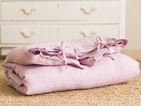 Funda de lino lavado a la piedra en rosa empolvado perfecto para la cuna de tu bebé, hazte con tu funda única o regala un detalle a una mamá primeriza.